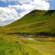 Two treatment ponds at Force Crag mine, near Keswick, Cumbria