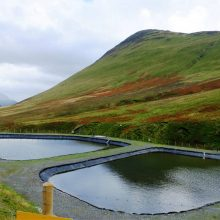 Treatment ponds at Force Crag mine, near Keswick, Cumbria