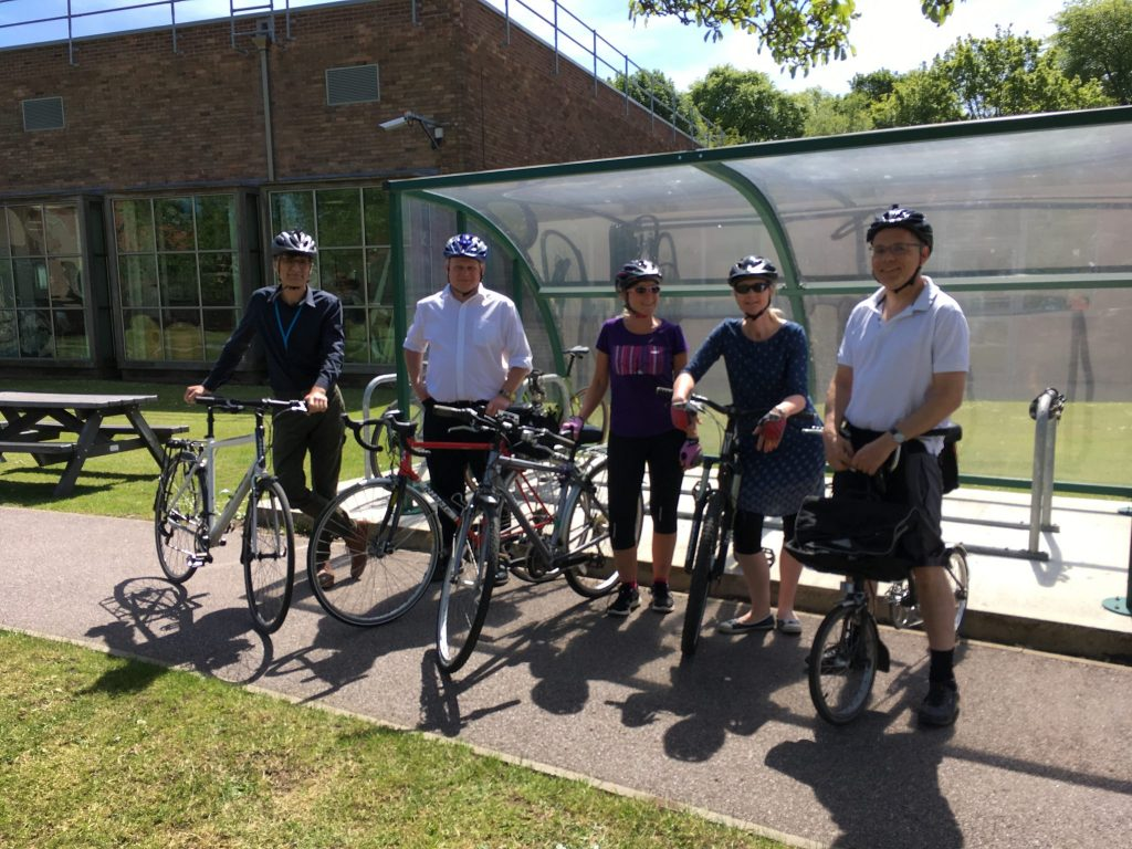 Coal Authority staff prepare to set off for their lunchtime bike ride