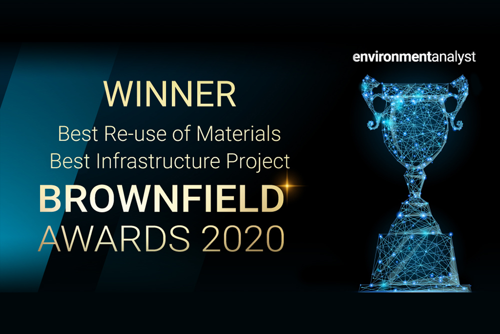 Winner of Best re-use of materials and best infrastructure project at the Brownfield Awards 2020