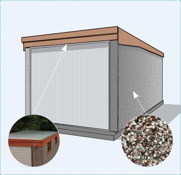 Option A: concrete sectional garage